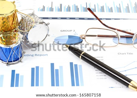 image of financial report and graphics for business - stock photo