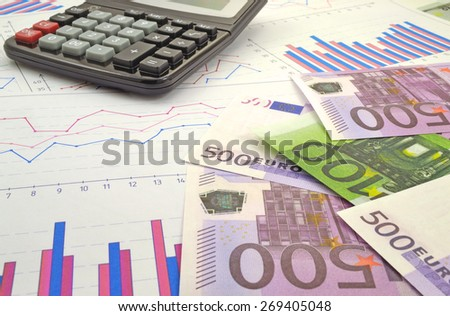 Image of financial tables graphs numbers for work business and economics - stock photo