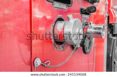 image of Fire truck close up equipment. - stock photo
