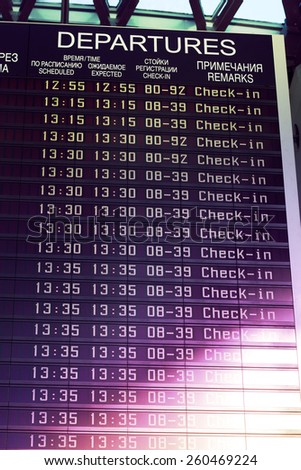 Image of flights information board in airport terminal