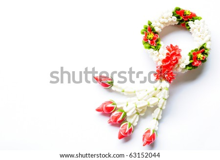 image of Flower garlands in thai style on white background, used offering to buddha - stock photo
