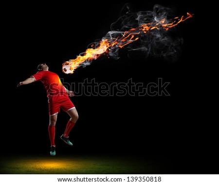 Image of football player in red shirt