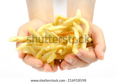 Image of french fries on white background