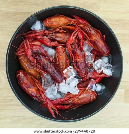 Image of fresh crayfish over ice.  - stock photo