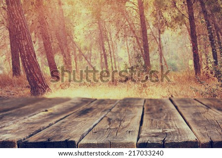 image of front rustic wood boards and background of trees in forest. image is retro toned - stock photo