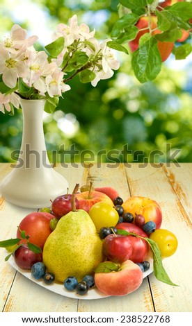 image of fruits on a wooden table