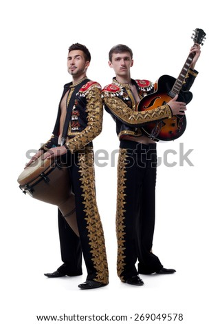 Image of funny musicians dressed as Spanish macho - stock photo