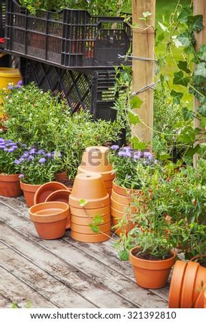 Image of garden potting area.  - stock photo