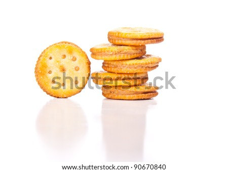 Image of generic peanut butter crackers isolated on white. - stock photo