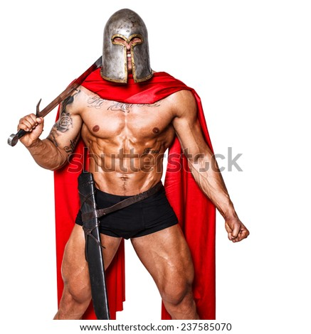 Image of giant warrior with closed eyes - stock photo