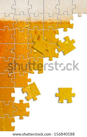 Image of glass of beer formed by puzle pieces     - stock photo