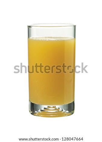Image of glass of orange juice against white background
