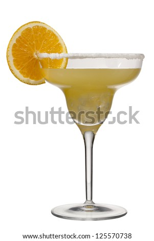 Image of glass of orange margarita against white background