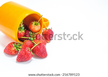 image of  glass of strawberry isolated on white background.