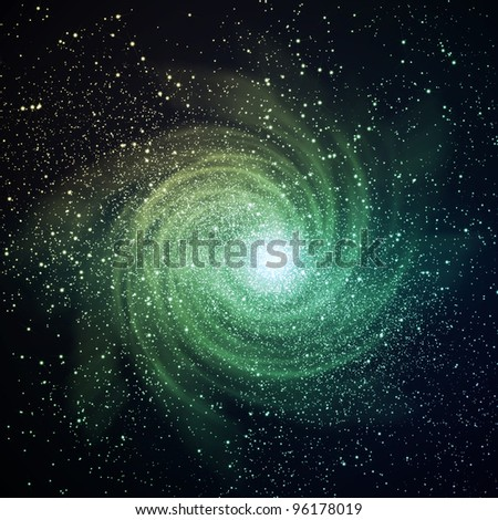 Image of glowing galaxy against black space and stars