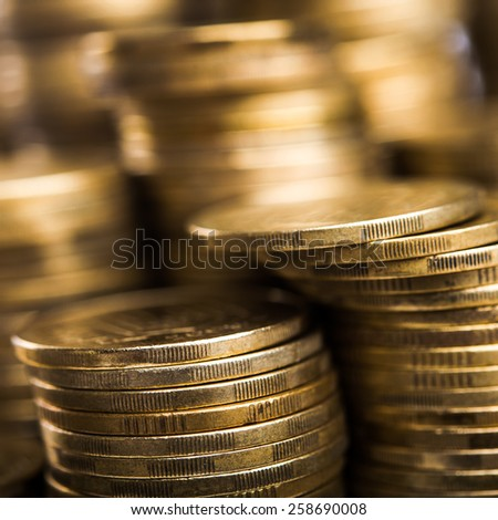 Image of gold coins on background - stock photo