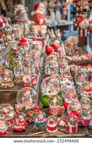Image of goods on sale at a local christmas market - stock photo