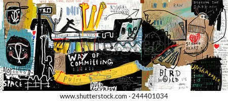 Image of graffiti, which contains a set of symbols  - stock photo