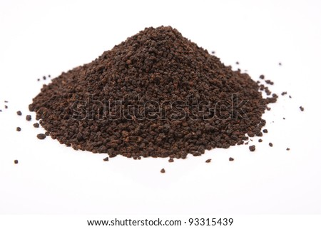 Image of granulated black tea isolated on white