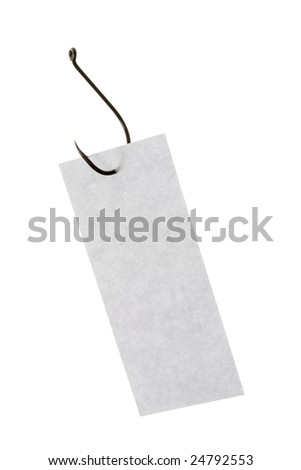 Image of grey rectangular paper sheet pierced by fishing hook - stock photo