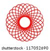 Image of hand drawing and digital circle on white  background with depth illusion - stock photo