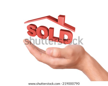 image of hand holding red sold house. sale concept  isolated on white background - stock photo