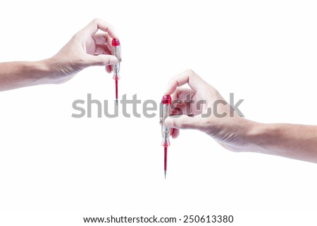 image of hand holding screw driver ,isolate on white background