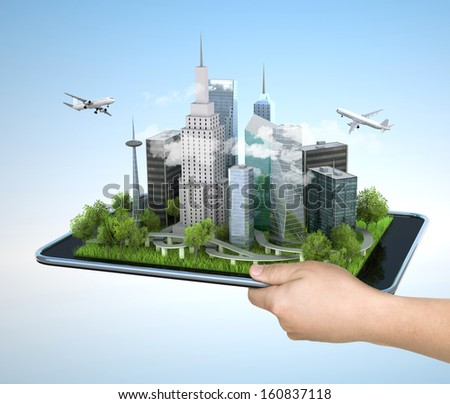 Image of hand holding tablet with illustration of city, 3d - stock photo