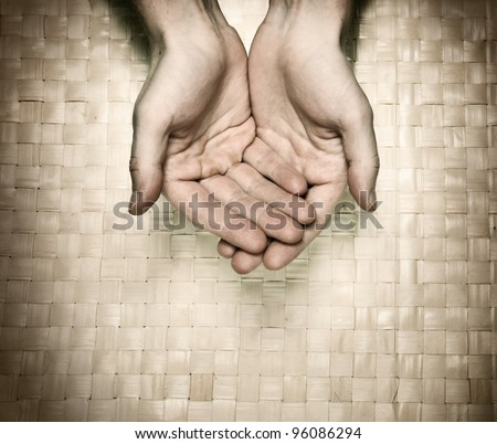 Image of hands asking for beg - stock photo