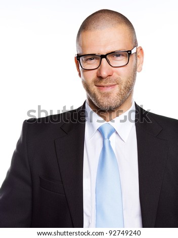 Image of handsome CEO with glasses, isolated on white - stock photo