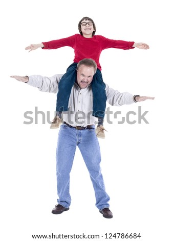 Image of happy aged man with a boy against white background
