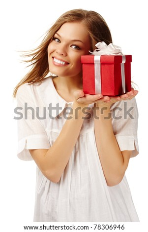 Image of happy female holding red giftbox - stock photo