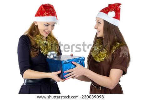 Image of happy women with the gift on white background