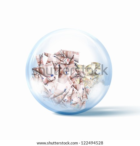 Image of heap of money bills inside a glass sphere - stock photo