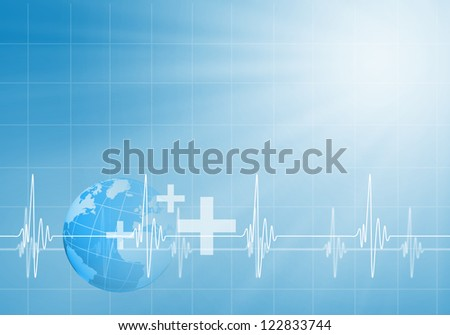 Image of heart beat against colour background - stock photo
