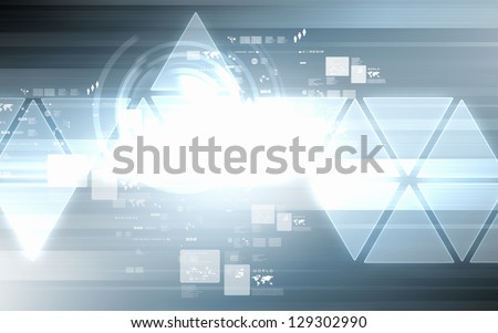 image of hightech background with shine and figures - stock photo