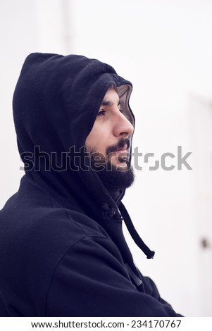 Image of hipster profile with hood in winter image
