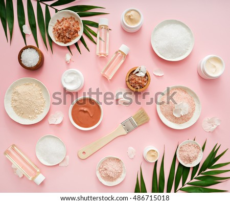 image of homemade cosmetics ingredients. aroma theme