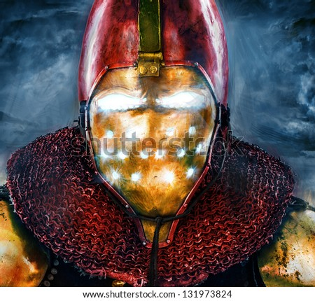 Image of honorable knight who is looking like iron man - stock photo