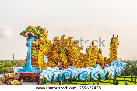 image of Huge dragon statue for background usage. - stock photo