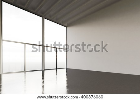 Image of huge expo hangar in modern building. Expo interior loft style with concrete floor,panoramic windows.Abstract background,blank walls. Ready for business info.Horizontal mockup. 3d rendering