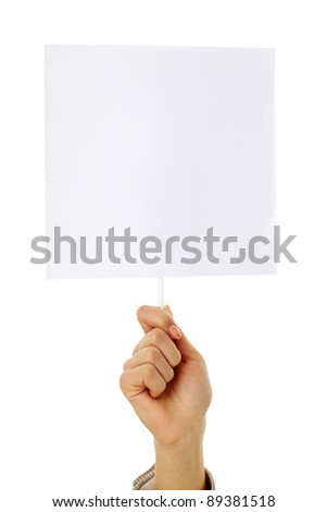 Image of human hand holding empty paper in isolation