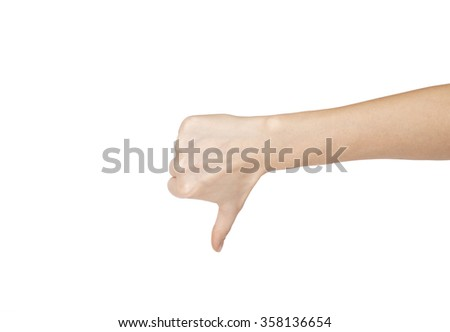 Image of human hand showing thumb down in isolation.