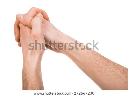 Image of human hands isolated on white background. - stock photo