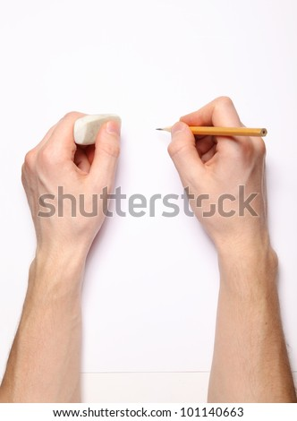 Image of human hands with pencil and eraser on white