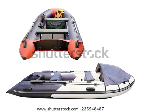 image of inflatable boat under the white background