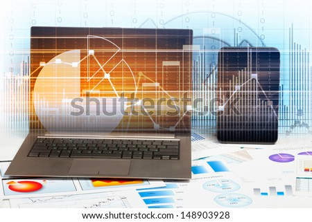 Image of ipad laptop and mobile phone with diagrams illustration - stock photo
