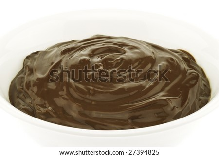 Image of irresistible chocolate pudding dessert isolated on white background.