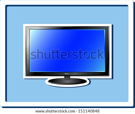 image of isolated blue TV screen sticker in frame - stock photo