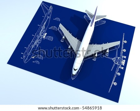 Image of isolated passenger airplane and engineering blueprint - stock photo